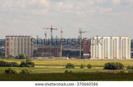 construction of a new residential area. apartment buildings