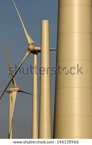 Construction of a new windturbine, Holland - stock photo