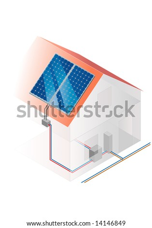 Construction of a solar system - photovoltaic - stock photo