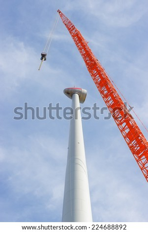Construction of a wind turbine - stock photo