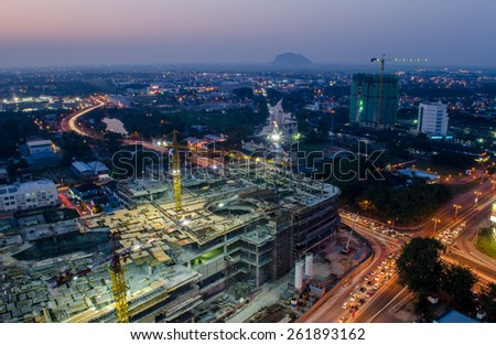 Construction of an Unfinished Building in a City - stock photo