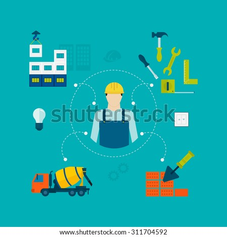 Construction of Building. Concept Illustration in flat style design. Icon man builder - stock photo