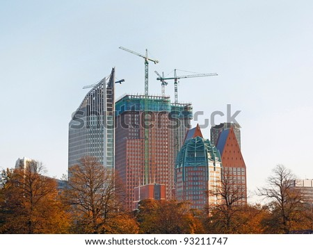 Construction of buildings in The Hague, Netherlands - stock photo