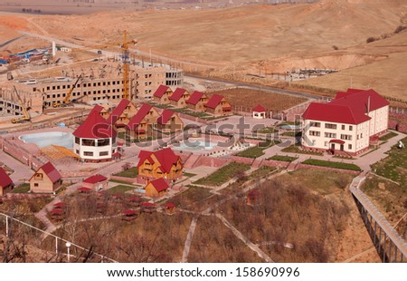 construction of cottages - stock photo