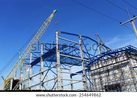 Construction of gas combine cycle power plant 800 MW - stock photo