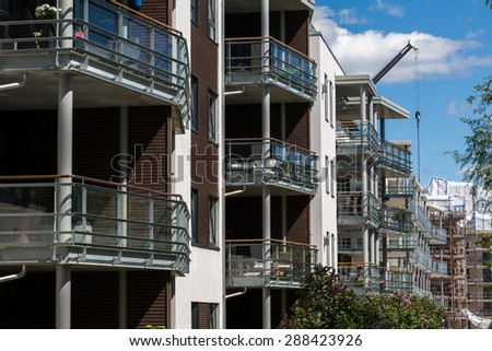 Construction of new apartments in Fornebu, Oslo. The area around the old airport has been converted to high tech offices and new homes - stock photo