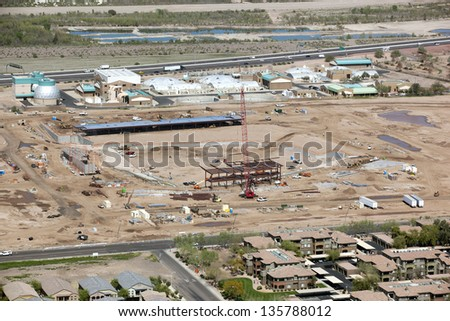 Construction of new baseball stadium in Mesa, Arizona as seen from above