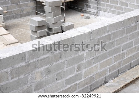 construction of new house - stock photo