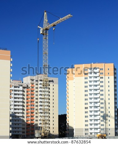 Construction of prefabricated houses. - stock photo