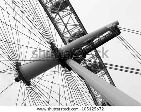 Construction of the London Eye in black and white tone - stock photo