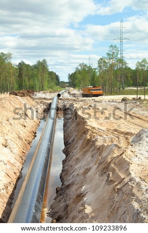 Construction of the pipeline in Western Siberia - stock photo