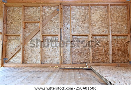 Construction of wood frame walls of a country house - stock photo
