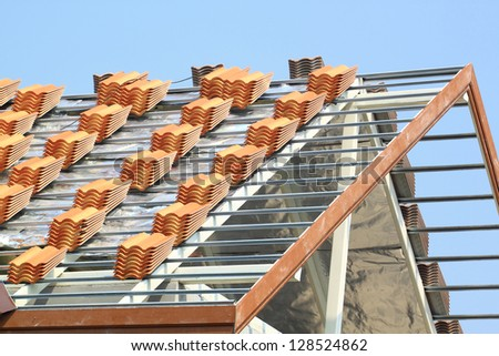 Construction on roof - stock photo