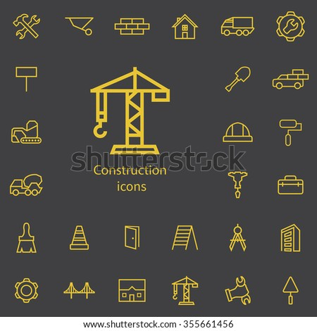 construction outline, thin, flat, digital icon set for web and mobile