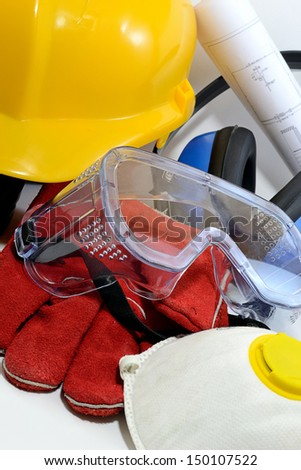 Construction personal protecting equipment  isolated in white - stock photo