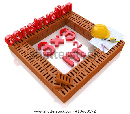 Construction plan for a new house in the design of the information related to the construction industry.3D Illustration - stock photo