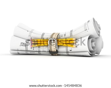 construction plan in rolls isolated on white