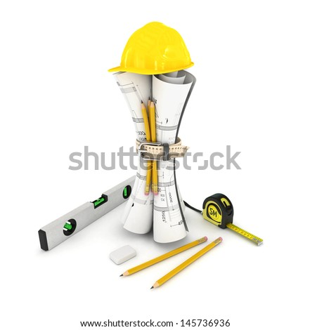 construction plan in rolls isolated on white - stock photo