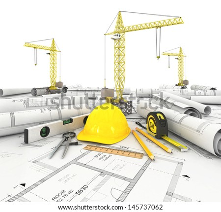 construction plan with a crane and other building fixtures - stock photo