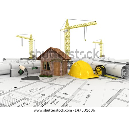 construction plan with house, scale and pencil, 3d - stock photo