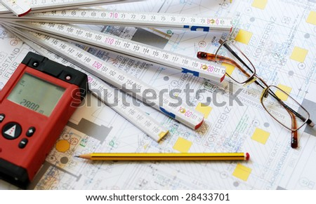 construction plan with objects - stock photo