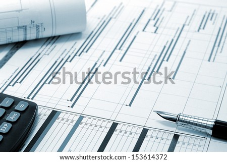 Construction project planning - Project Management Concept - stock photo