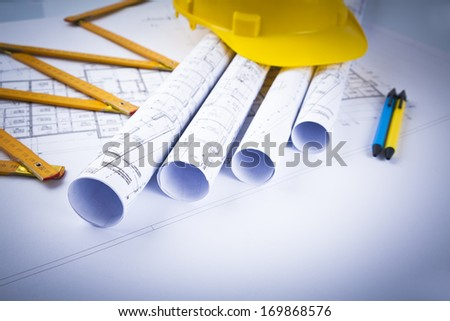 construction projects and blueprints - stock photo