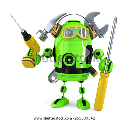 Construction robot. Technology concept.Isolated. Contains clipping path. - stock photo