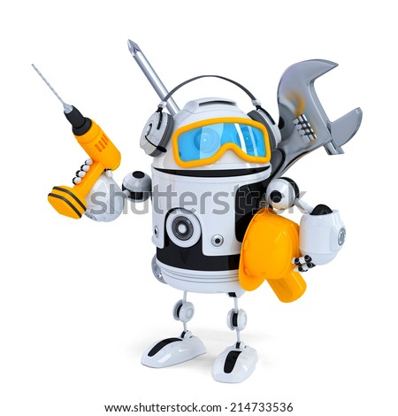 Construction robot with tools. Isolatedover white. Contains clipping path - stock photo