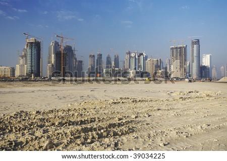 construction rush of Dubai - stock photo