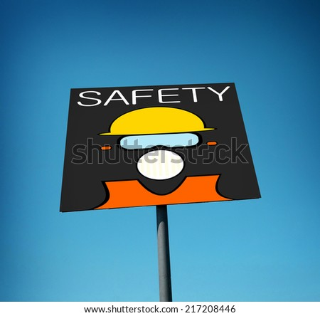 construction safety sign with blue sky                          - stock photo
