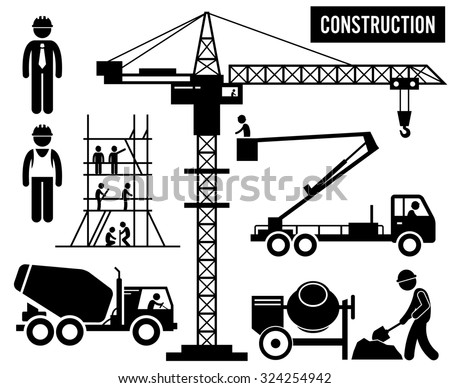 Construction Scaffolding Tower Crane Mixer Truck Sky Lift Heavy Industry Pictogram - stock photo