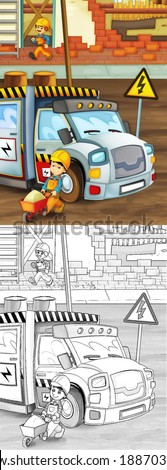 Construction set - coloring page with preview - illustration for the children - stock photo