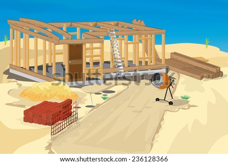 Construction site, a building site with various construction tools and materials including a sand mixer,spades, wood and more. - stock photo