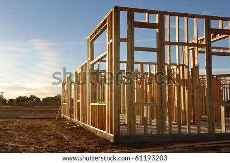 Construction Site at Dusk - stock photo