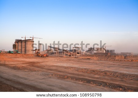 construction site at dusk in inner mongolia,is the construction of coal plants