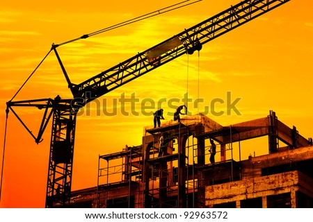 Construction site at sunset - stock photo