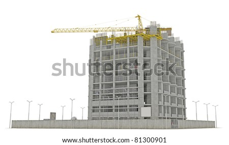 Construction site: building a skyscraper isolated over white - stock photo