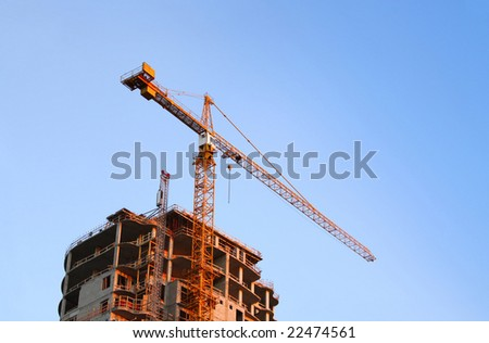 Construction Site Building and Crane