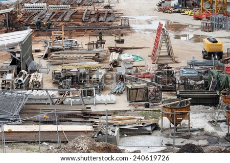 Construction site, building materials  - stock photo