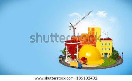 Construction Site.  Concept of construction of buildings - stock photo