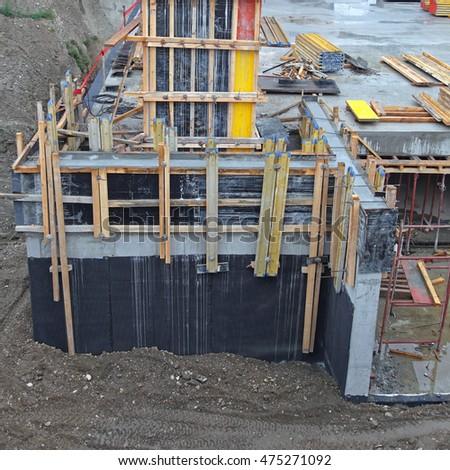 Guard rail anti crushing pipe stock photo 225035650 for Concrete basement construction