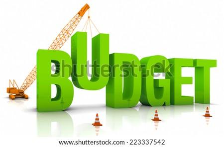 Construction site crane building a blue 3D text. Part of a series. - stock photo