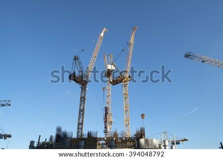Construction Site - Cranes - stock photo
