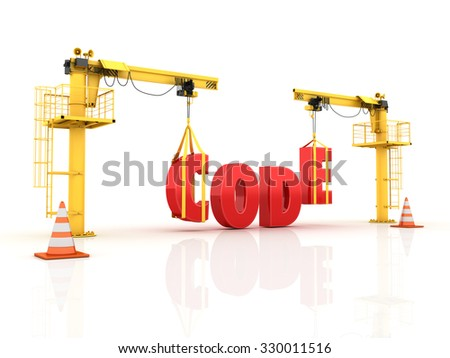 Construction Site Cranes Building the CODE Word. Isolated on White Background. Reflections and Shadows. High Quality 3D Render  - stock photo