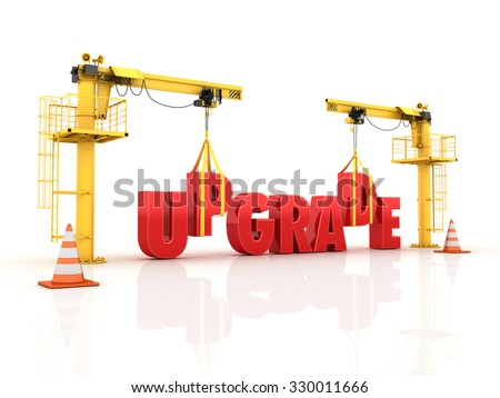 Construction Site Cranes Building the UPGRADE Word. Isolated on White Background. Reflections and Shadows. High Quality 3D Render