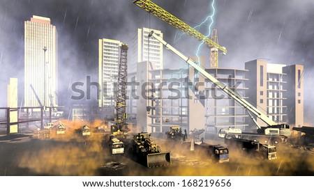 Construction site during rainstorm - stock photo