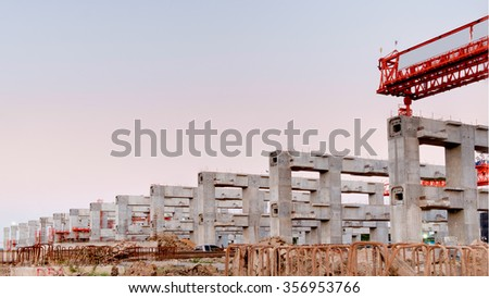 construction site, erection bridge box girder