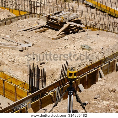 Construction site - Foundation: formwork and framework support - stock photo