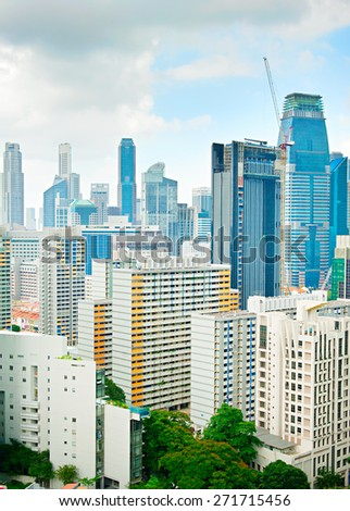 Construction site in a density Singapore Downtown Core - stock photo
